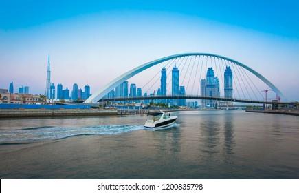 Tolerance bridge and boat in Dubai city, UAE