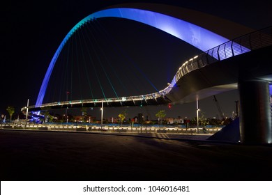 Tolerance Bridge at night taken from Safa Park in Dubai