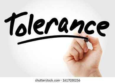 Tolerance text with marker, concept background