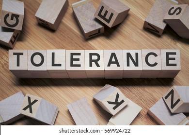 Tolerance Word In Wooden Cube
