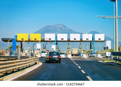 Toll booth with Blank signs on the road in Italy at the Mount Vesuvius mountain