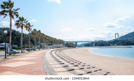 A toll road rest stop in Hakata Island with a row of palm trees by the beachside and a view of the Hakata Oshima Bridge which connects Hakata Island with Oshima Island in the Shikoku Region of Japan.