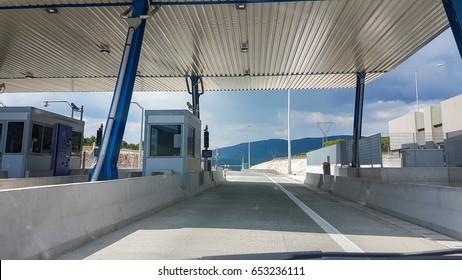 toll station in Gorgomilos Ioannina Greece, Ionia road