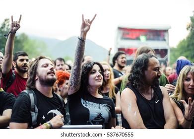 Tolmin, Slovenia - July 24th : Heavy Metal Fans enjoying the Metaldays Festival on July 24th, 2016 in Tolmin, Slovenia