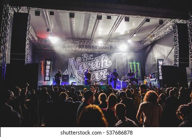 Tolmin, Slovenia - July 26th: Metal band Rise of the Northstar performing at Metaldays Festival on July 26th, 2016 in Tolmin, Slovenia