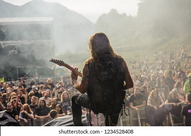 Tolmin, Slovenia - July 27th 2017: Andrea Martongelli guitar player of Canadian band Kobra and the Lotus performs on stage at Metaldays Festival 2017, Tolmin, Slovenia