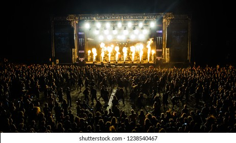 Tolmin, Slovenia - July 28th 2017: German extreme metal band Heaven Shall Burn performs on stage with pyro effect at Metaldays Festival 2017, Tolmin, Slovenia