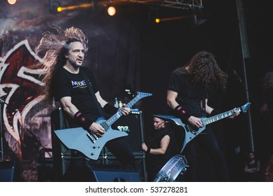 Tolmin, Slovenia - July 29th: American thrash metal band Exodus performing at Metaldays Festival on July 29th, 2016 in Tolmin, Slovenia