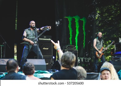 Tolmin, Slovenia - July 29th: Serbian death metal band Infest performing at Metaldays Festival on July 29th, 2016 in Tolmin, Slovenia