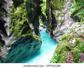 Tolminka river at  Tolmin gorge in Littoral region of Slovenia - Shutterstock ID 1997411384