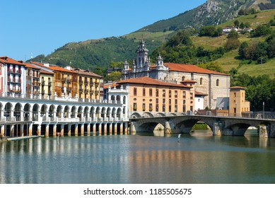 Tolosa village and Oria river, Basque Country, Spain