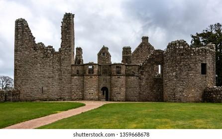 The façade of Tolquhon Castle, Aberdeenshire, Scotland.