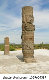 toltec sculpture piramid in Tula Mexico