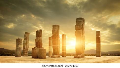 Toltec Sculptures in Tula, Mexico