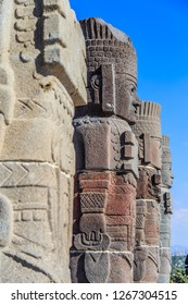 Toltec Warriors - Atlantes - columns topping the Pyramid of Quetzalcoatl in Ancient ruins of Tula de Allende - archaeological site in Hidalgo, Mexico