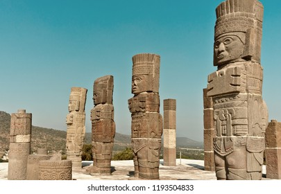 Toltec Warriors columns on Pyramid of Quetzalcoatl (Morning Star) in Tula - Mesoamerican archaeological site, Mexico