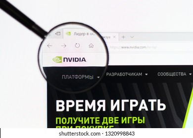 Tolyatti / Russia - 02.23.2019:  NVIDIA logo on the official website homepage. NVIDIA logo visible on monitor screen through a magnifying glass