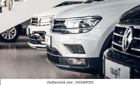 Tolyatti / Russia - 06.15.2019: New cars Volkswagen Tiguan in car dealership. Volkswagen Group is a German automobile manufacturing group. Volkswagen group dealership and service