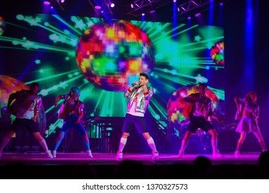 """Tolyatti, Russia - November 19, 2017. Concert of the popular Russian singer and actor, participant of the Eurovision Song Contest, Sergey Lazarev. Part of a concert tour """"The Best"""""""