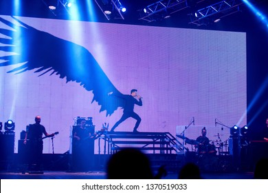 Tolyatti, Russia - November 19, 2017. Concert of the popular Russian singer and actor, participant of the Eurovision Song Contest, Sergey Lazarev. Song «You Are the Only One» .