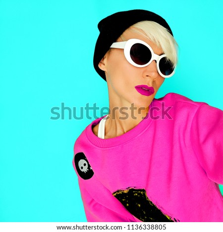 648acc0f7680 Tom boy Girl In stylish accessories Beanie and Glasses. Urban fashion  skater mood