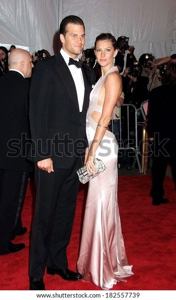 Tom Brady, in a Tom Ford suit, Gisele Bundchen, in a Versace gown, at Superheroes Fashion and Fantasy Gala, Metropolitan Museum of Art Costume Institute, New York, May 05, 2008