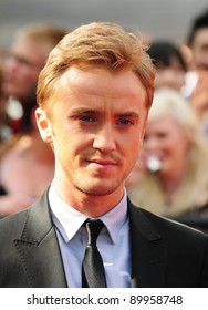 "Tom Felton arriving for premiere of the final Harry Potter film ""Harry Potter and the Deathly Hallows Part 2,  Trafalgar Square, in London. 07/07/2011 Picture by: Simon Burchell / Featureflash"