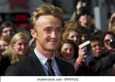 Tom Felton arriving for the World Premiere of 'Harry Potter & the Deathly Hallows pt2', Trafalgar Square, London. 07/07/2011  Picture by: James McCauley / Featureflash