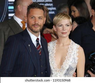Tom Hardy and Michelle Williams at the Los Angeles premiere of 'Venom' held at the Regency Village Theatre in Westwood, USA on October 1, 2018.