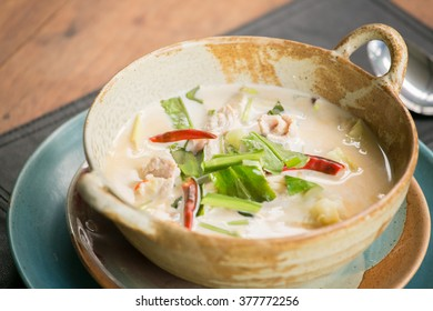 tom kha kai chicken in coconut milk soup - thai cuisine
