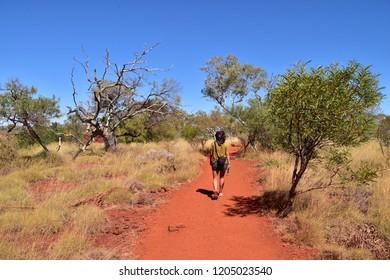 Tom Price, Australia - 09 10 2018: Young woman hiking through the Karijini National Park in Western Australia