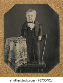 Tom Thumb, born Charles Sherwood Stratton, at age 10 in 1848. P.T. Barnum was related to his parents and taught him to perform by the time he was five years old