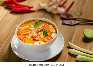 Tom yam kung or Tom yum, Tom yam is a spicy clear soup typical in Thailand,Popular food in Thailand