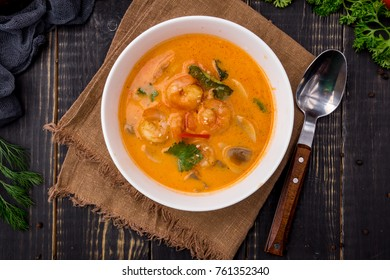Tom Yam soup with seafood top view