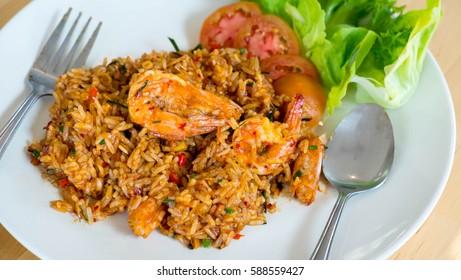 Tom Yum Fried Rice with Shrimp