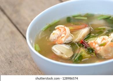 Tom Yum Goong soup with shrimp ,favorite Thai food