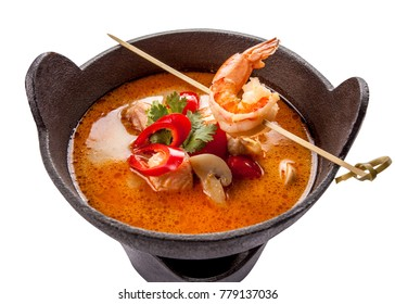 Tom Yum Goong spicy soup traditional food cuisine in Thailand