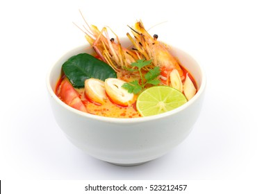Tom Yum Goong Spicy Sour Soup isolated on white background, Thai local food