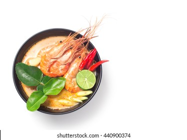 Tom Yum Goong thai food traditional cuisine with ingredient on white isolated background