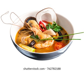 Tom Yum Goong. Thai soup isolated on white background