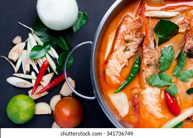 Tom Yum Goong,Thai Food on black background