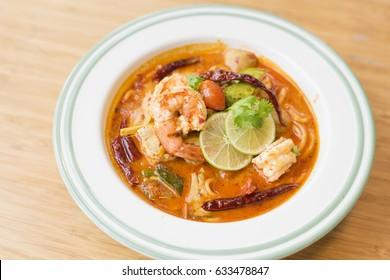 Tom Yum Kung Noodle (Thai Cuisine)