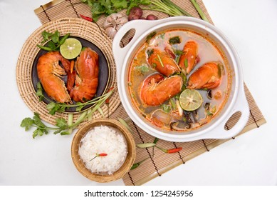 Tom Yum Kung  Thai food on a white background.