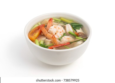 Tom yum kung,  Thai hot spicy soup shrimp with lemon grass,lemon,galangal and chilli.