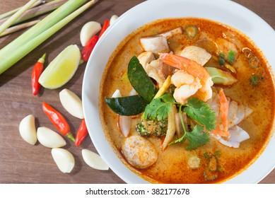 Tom Yum soup, Prawn and ingredients
