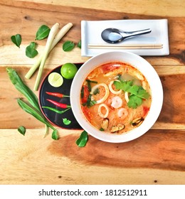 """""""Tom Yum"""" or """"Tom Yam"""" noodle. Thai local traditional street food. Spicy & tasty. Popular food for thai & gastronomic tourism. Main ingredients are seafood, chili pepper & herbs. Amazing Thailand."""