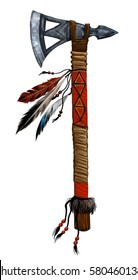 Tomahawk. Military weapons the Indians of North America.Native American ax.Weapon decorated with feathers of wild birds, precious stones, beads, cloth and leather straps