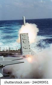 Tomahawk Missile launched toward a target in Iraq guided missile cruiser USS MISSISSIPPI during the air war phase of Operation Desert Storm. Jan.29 1991