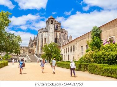 TOMAR, PORTUGAL -  19 JULE 2018:  Convento de Cristo (UNESCO world Heritage), Tomar, Ribatejo, Portugal