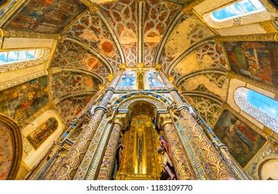 Tomar, Portugal -April 2018: impressive Roman catholic church interior in  the Convent of Christ, originally Knights Templar